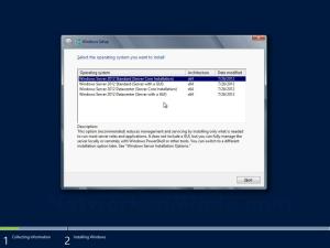 Windows Server 2012 Edition Selection Screen