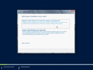 Windows Server 2012 Type of Installation Screen